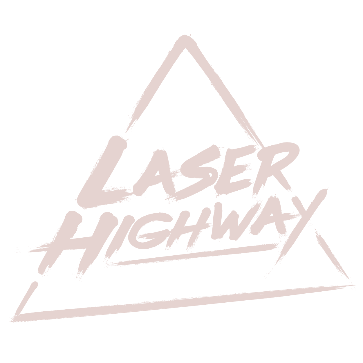 laser highway logo - the words laser highway in brushed lettering and the outline of a triangle in the same stylised manner