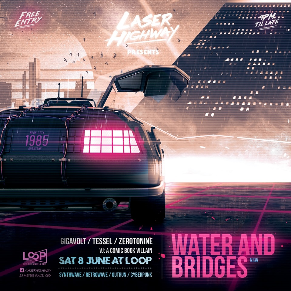 """a post apocalyptic styled poster with a purple-pink color scheme showing a city in the background, a trash heap in the foreground along with a humanoid figure with slender arms outreached, a bone like mask and wings constructed out of debre. Above it the text """"laser highway presents SHIV-R"""" below that, the DJs """"DJ lobotomy, neil orchard, zerotonine"""" and the VJ """"a comic book villain"""" and the more detailed event information """"saturday 13 april at loop, 23 meyers place CBD 9pm start until late"""" with the weblinks """"facebook.com/laserhighway"""" and """"laserhighway.com"""" on the bottom left the text """"free entry"""" and on the bottom right a genre list """"darkelectro, dark synth, ebm, industrial"""""""